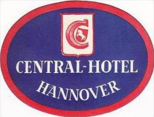 GERMANY HANNOVER CENTRAL HOTEL VINTAGE LUGGAGE LABEL