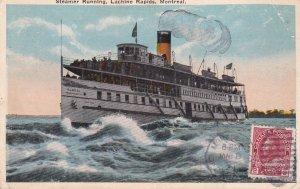 Steamer Running , Lachine Rapids , MONTREAL , Quebec , Canada ; PU-1921