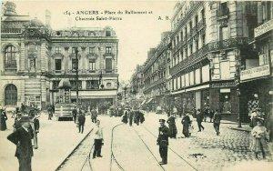 #154. Angers. Place du Ralliement et Chaussee Saint-Pierre Postcard. Busy Street