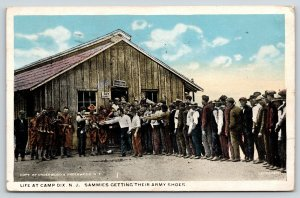 Camp Dix NJ~Supply Depot~Sammies Line Up for Army Shoes~Mighty Tiresome~WWI 1919