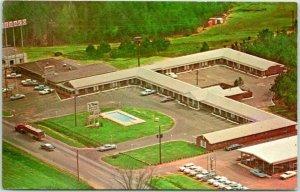 Troy, Alabama Postcard VIKING MOTOR LODGE Motel Aerial View Roadside c1960s