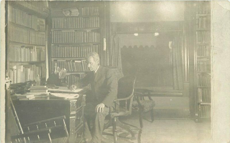 Books Interior C-1910 Man Desk Library RPPC Photo Postcard 20-1817
