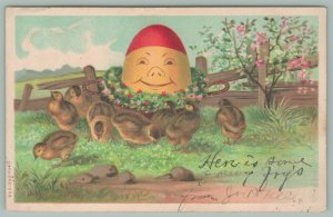 Easter Fantasy~Humpty Dumpty Faced Yellow n Red Egg Smiles At Chicks~Wreath~1908