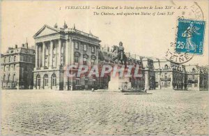 Postcard Old Versailles Chateau and the Equestrian Statue of Louis XIV