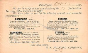 Medicine Advertising Old Vintage Antique Post Card Bronchitis, Laryngitis 1893