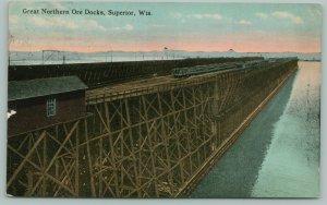 Superior Wisconsin~Great Nothern Ore Docks~Homeward Bound~c1910 Postcard