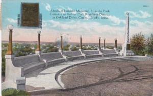 Iowa Council Bluffs Abraham Lincoln Memorial Lincoln Park 1930 Curteich