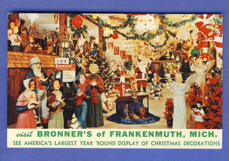Bronners Christmas.Frankenmuth Michigan Mi Postcard Bronner S Christmas Store