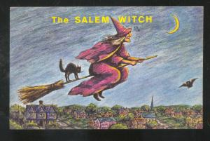THE SALEM WITCH SALEM MASSACHUSETTS ON BROOM VINTAGE POSTCARD BLACK CAT