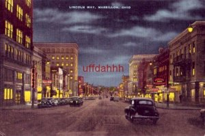 LINCOLN WAY. MASSILLON, OH night view 1947