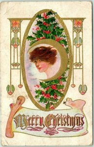 Vintage MERRY CHRISTMAS Embossed Greetings Postcard Pretty Lady / Holly c1910s