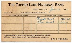 NY - The Tupper Lake National Bank 1920