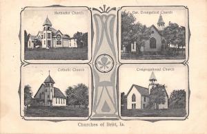 Britt IA Multiview~Churches~Art Nouveau Methodist-Catholic-Cong'l~German 1918