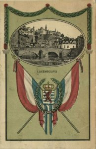 luxemburg, LUXEMBOURG, Partial View, Coat of Arms, Flag (1910s) Postcard