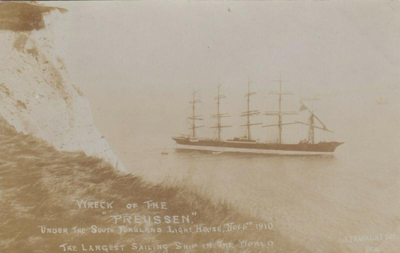 RP, Shipwreck of PREUSSEN , Under The South Foreland Lighthouse , UK , 1910