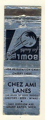 Grand Rapids, Michigan/MI Matchcover, Chez Ami Lanes & Lo...