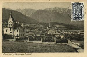 austria, IMST mit Heiterwand, Church, Tyrol Tirol (1924) Postcard Stamp