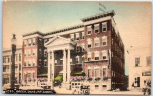 Danbury, Connecticut Postcard HOTEL GREEN Street View Hand-Colored Collotype