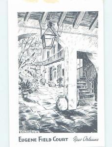 Pre-1980 EUGENE FIELD COURT - ARTIST SIGNED New Orleans Louisiana LA d2256