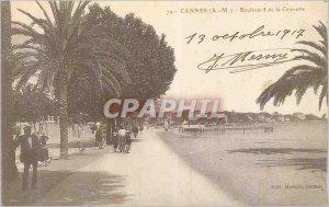 Old Postcard Cannes (A M) Boulevard de la Croisette