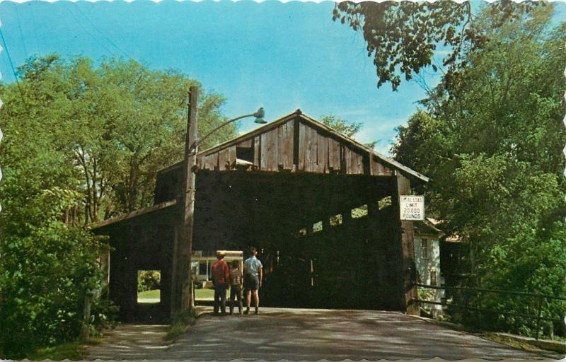 Waitsfield Vermont~Boys Looking at Old Covered Bridge 1950s Postcard