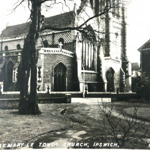 RPPC - ST MARY LE TOWER CHURCH - IPSWICH ENGLAND - B/W 1956 POSTED