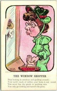 VINEGAR VALENTINE Postcard THE WINDOW SHOPPER Artist-Signed MYER 1907 Cancel