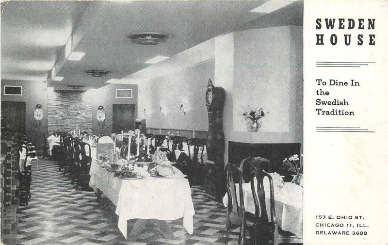 Chicago Illinois~Sweden House Restaurant Interior~Ohio Street~1940s B&W Postcard