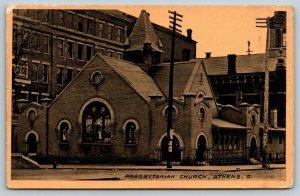 Athens Ohio~Presbyterian Church on Corner~Tall Buildings Surround~1911 Sepia PC
