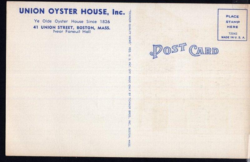 MA ~  BOSTON Ye Olde Oyster House 41 Union Street near Faneuil Hall LINEN