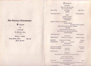 SS Coamo 1937 Cruise Puerto Rico Scene, Dinner Menu