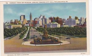 Pennsylvania Philadelphia Parkway From Art Museum Looking Towards City Hall C...