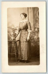 Manistee MI Hanselman Real Photo Postcard~Lady Next to Bonsai? Planter~RPPC c910
