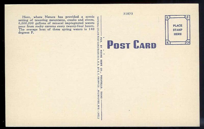 Lava Hot Springs Bathing Pocatello ID unused 1940's