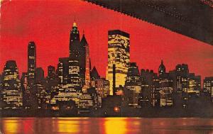 USA Night view of Lower Manhattan Seen from Brooklyn 1973