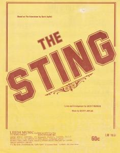 The Sting Entertainer Scott Joplin Rare South African 1970s Sheet Music