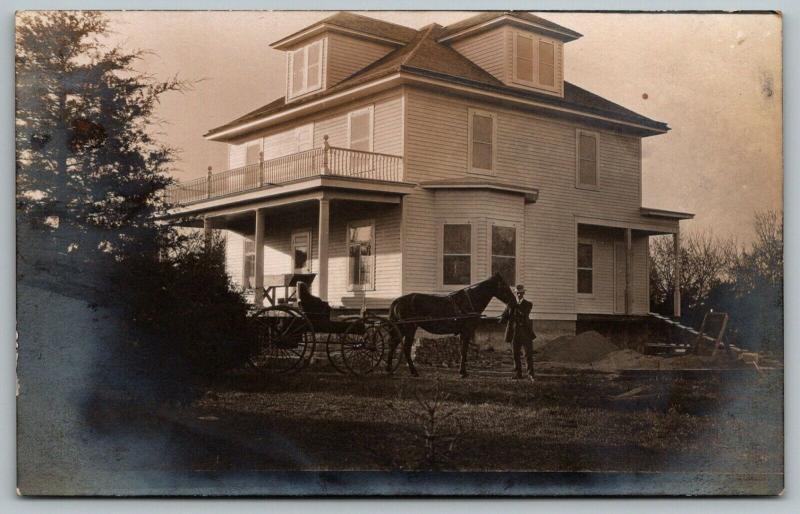 RPPC~Almost Finished American Square Home~Porch Parapet~Horse & Buggy~c1910