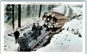 COEUR d'ALENE, Idaho  ID    HAULING LOGS - LOGGING ca 1920s   Postcard