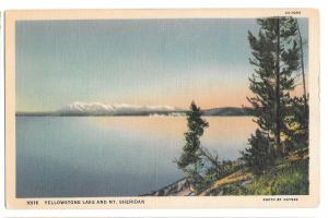 WY Yellowstone National Park Lake Mt Sheridan Vtg Haynes Linen Wyoming Postcard