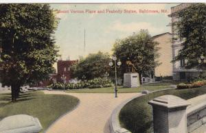 BALTIMORE, Maryland; Mount Vernon Place and Peabody Statue, PU-1914