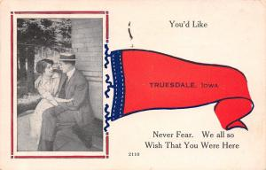 You'd Like Truesdale Iowa~Never Fear~We All Wish You Here~Pennant Postcard