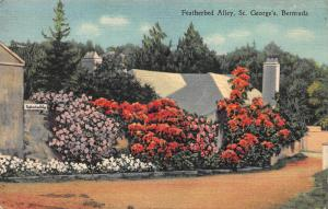 Featherbed Ally, St. George's, Bermuda, Early linen Postcard, Used in 1957