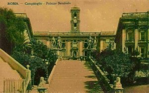 Italy Roma Campidoglio Palazzo Senatorio Palace Tower Statues Postcard