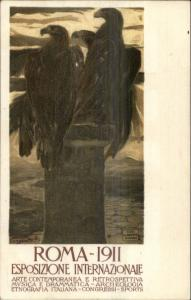 Beautiful Eagles - Rome Roma 1911 Exposition CAMPBELLOTTI Poster Art Postcard