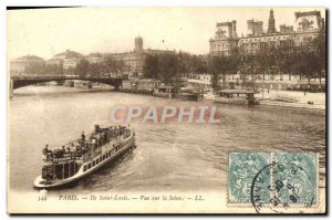 Old Postcard Paris Ile Saint Louis View On The Seine Boat Peniche
