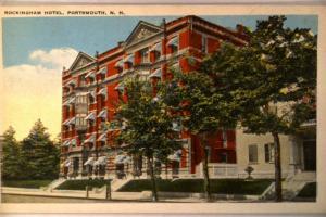 Unused pre-1935 ROCKINGHAM HOTEL in Portsmouth New Hampshire NH postcard y2969