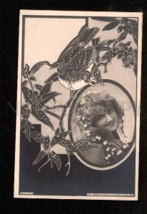 048125 Dancer LONG HAIR in ART NOUVEAU old Photo 1900