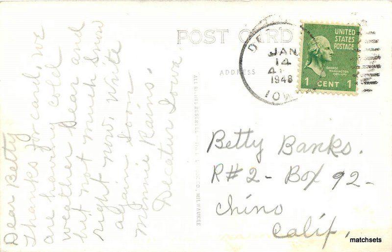1948 Bloomfield Iowa ME Church RPPC real photo postcard Cook 8963