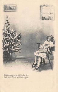 Merry Christmas Santa Claus Young Girl Asleep H-T-L Postcard