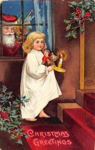 F99/ Santa Claus Christmas Postcard c1910 Ellen Clapsaddle Window 15